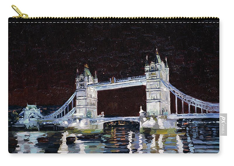 London Carry-all Pouch featuring the painting Tower Bridge by Simon Kozhin