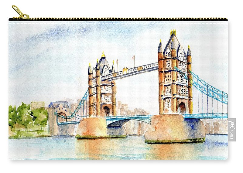Tower Bridge Carry-all Pouch featuring the painting Tower Bridge London by Carlin Blahnik CarlinArtWatercolor