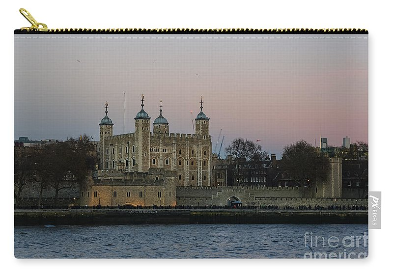 Britain British England English Uk Europe European View Panoramic Cityscape Skyline Travel Traveling Tourism Riverbank Riverside Scenery Scene Architecture Buildings Old Icon Iconic Famous Popular Capital City Urban Landmark Landmarks Attraction Sightseeing Sunset Dusk Twilight Night Sky River Tower Of London Castle Medieval Building Thames Carry-all Pouch featuring the photograph Tower Of London by Marcin Rogozinski