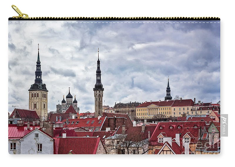 Baltic Countries Carry-all Pouch featuring the photograph Towers Of The Tallinn Old Town by Jukka Heinovirta