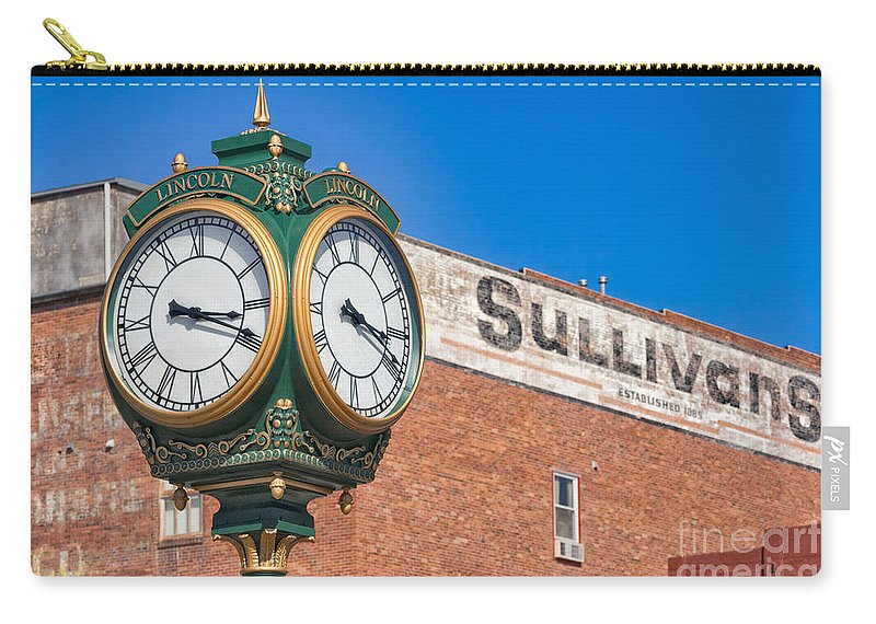 Haymarket Carry-all Pouch featuring the photograph Town Clock Lincoln Nebraska by Jerry Fornarotto