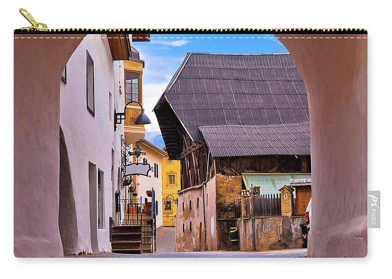Kastelruth Carry-all Pouch featuring the photograph Town Of Kastelruth In Alps Street View by Brch Photography