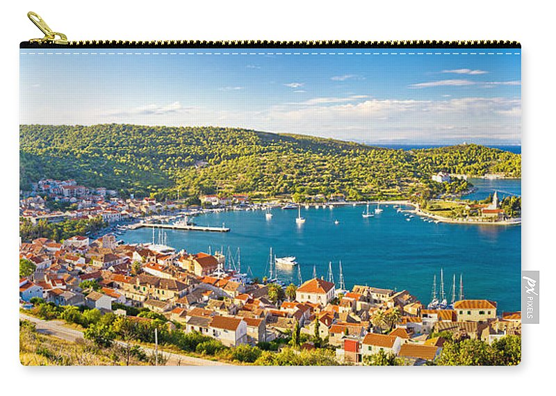 Bay Carry-all Pouch featuring the photograph Town Of Vis Panorama From Hill by Brch Photography