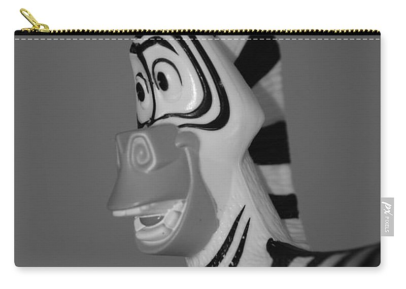 Black And White Carry-all Pouch featuring the photograph Toy Zebra by Rob Hans