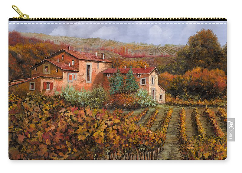 Wine Carry-all Pouch featuring the painting tra le vigne a Montalcino by Guido Borelli