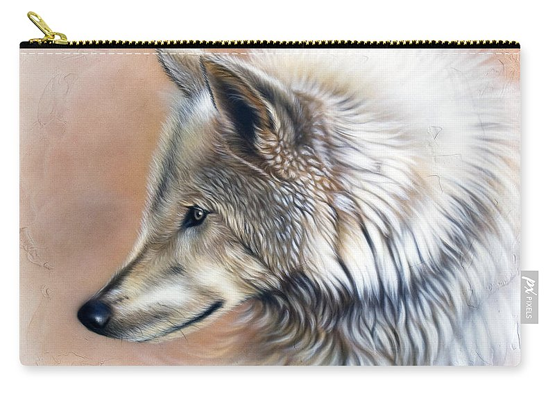 Wolves Carry-all Pouch featuring the painting Trace IIi by Sandi Baker