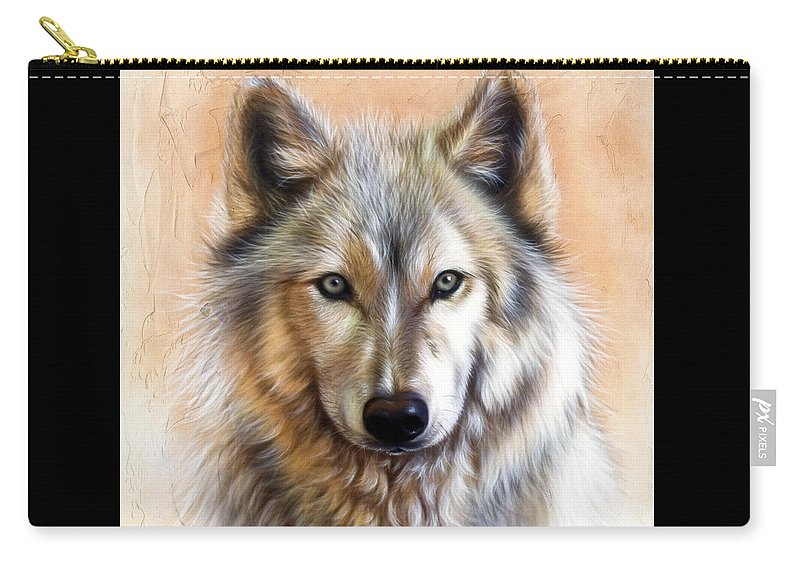 Wolves Carry-all Pouch featuring the painting Trace Two by Sandi Baker