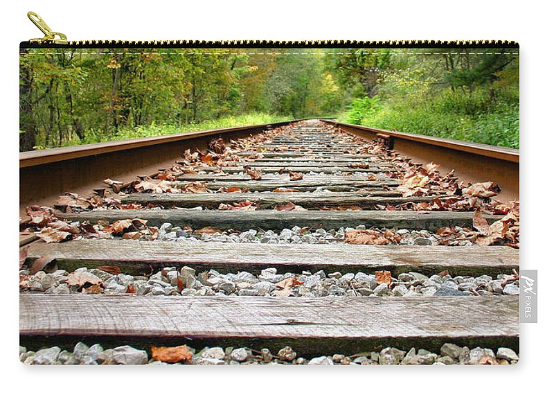 Train Tracks Carry-all Pouch featuring the photograph Tracking To The Right And Around The Bend by Kristin Elmquist