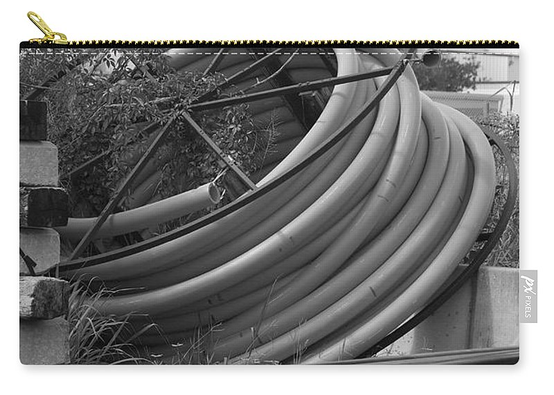 Blacka Nd White Carry-all Pouch featuring the photograph Tracks And Cable by Rob Hans