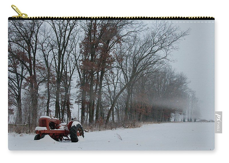 Red Tractor Carry-all Pouch featuring the photograph Tractor In The Fog by David Arment