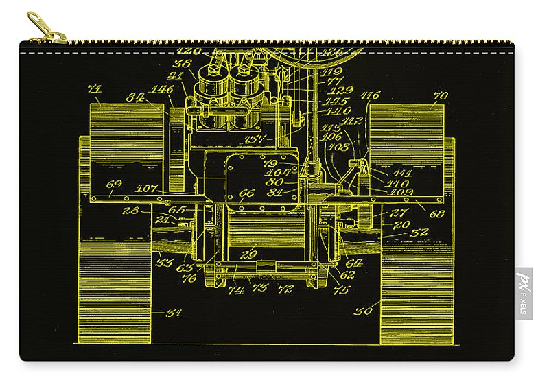 Patent Carry-all Pouch featuring the mixed media Tractor Patent Drawing 5h by Brian Reaves