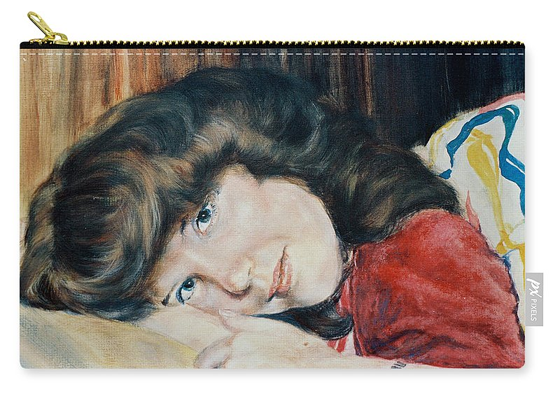 Girl Carry-all Pouch featuring the painting Tracy by Bryan Bustard