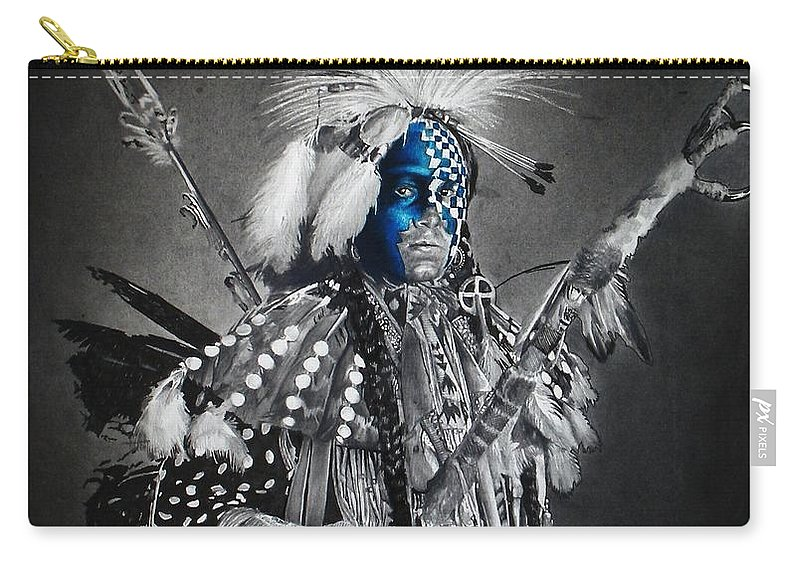 Graphite Carry-all Pouch featuring the mixed media traditional dancer Blue by Raoul Alburg