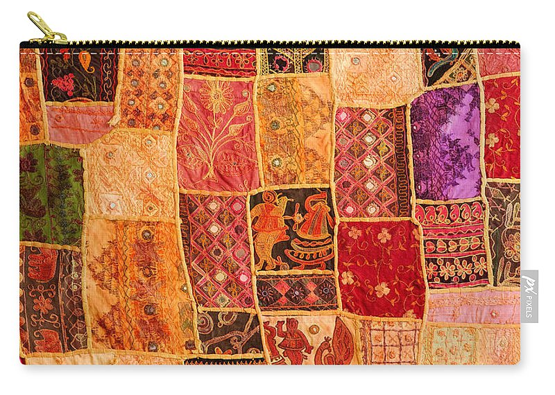 Tapestry Carry-all Pouch featuring the photograph Traditional Patchwork Tapestry by Grigorios Moraitis
