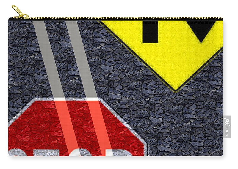 Traffic Signs Carry-all Pouch featuring the digital art Traffic Signs by Hannah Breidenbach