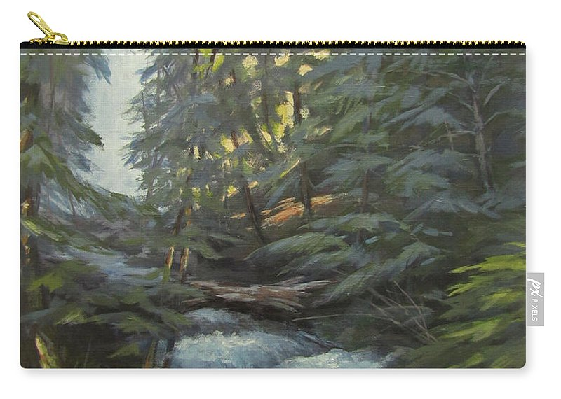 Waterfall Carry-all Pouch featuring the painting Trail To The Falls by Karen Ilari