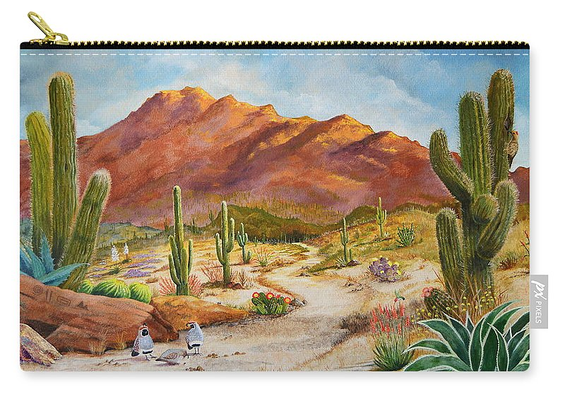 Desert Scene Carry-all Pouch featuring the painting Trail To The San Tans by Marilyn Smith