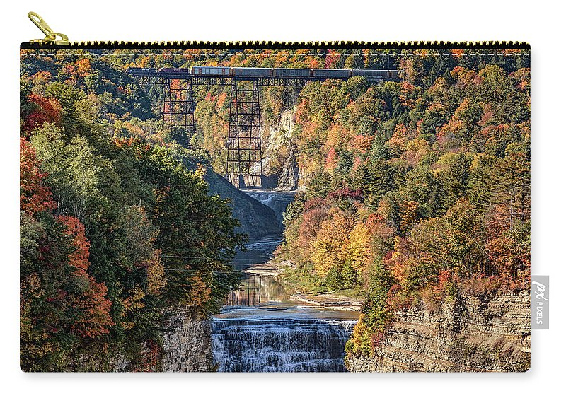 Train Carry-all Pouch featuring the photograph Train Over Letchworth by Rod Best