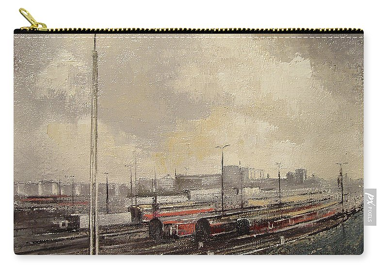 Train Carry-all Pouch featuring the painting Train station by Tomas Castano