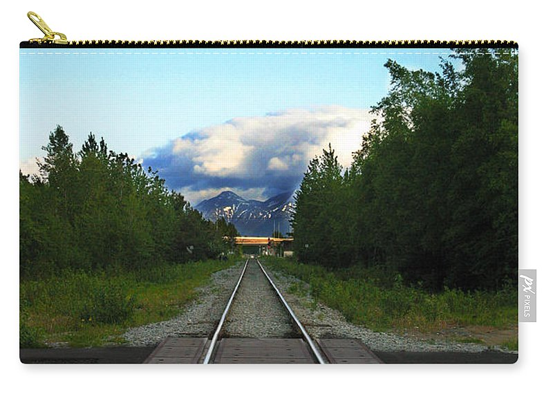 Train Carry-all Pouch featuring the photograph Train Tracks Anchorage Alaska by Anthony Jones
