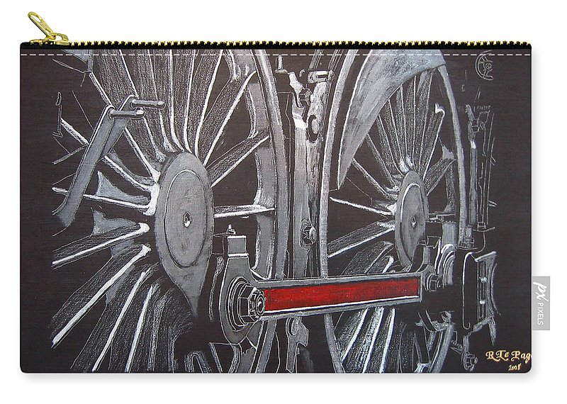 Trains Carry-all Pouch featuring the painting Train Wheels 1 by Richard Le Page