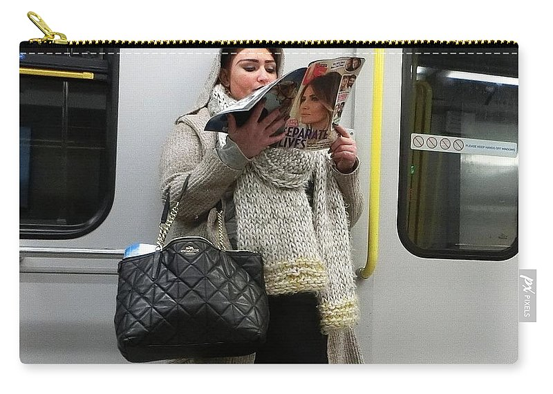 Subway Carry-all Pouch featuring the photograph Train Woman Magazine by Stuart Matthews