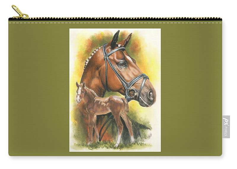 Jumper Hunter Carry-all Pouch featuring the mixed media Trakehner by Barbara Keith