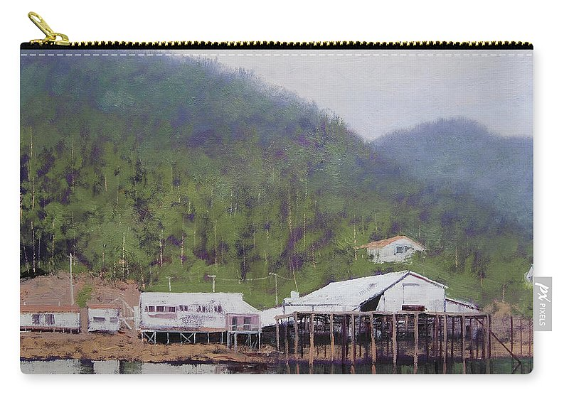 Tranquil Carry-all Pouch featuring the painting Tranquil Lake Canada by Graham Gercken