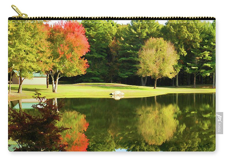 Tranquil Landscape At A Lake Carry-all Pouch featuring the painting Tranquil Landscape At A Lake 3 by Jeelan Clark