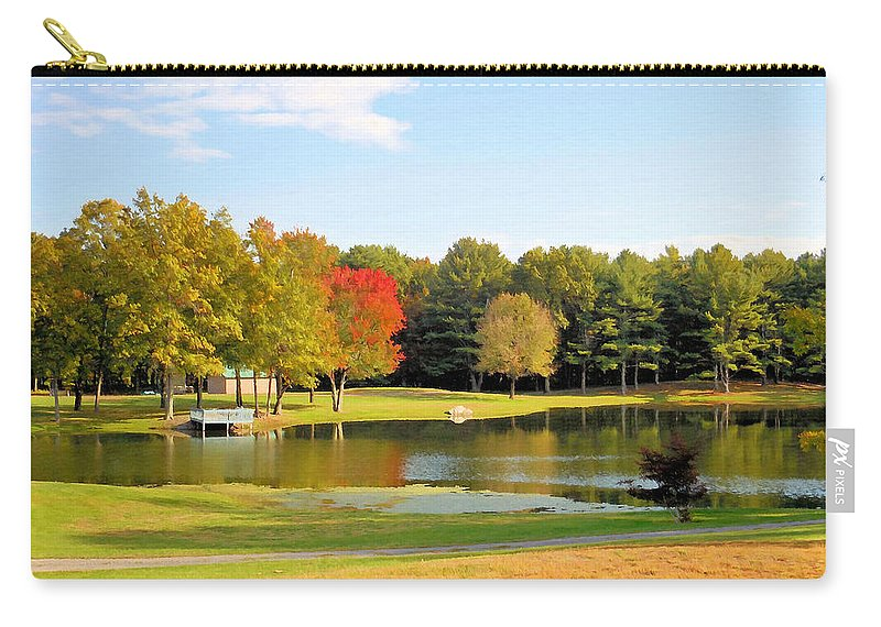 Tranquil Landscape At A Lake Carry-all Pouch featuring the painting Tranquil Landscape At A Lake 7 by Jeelan Clark