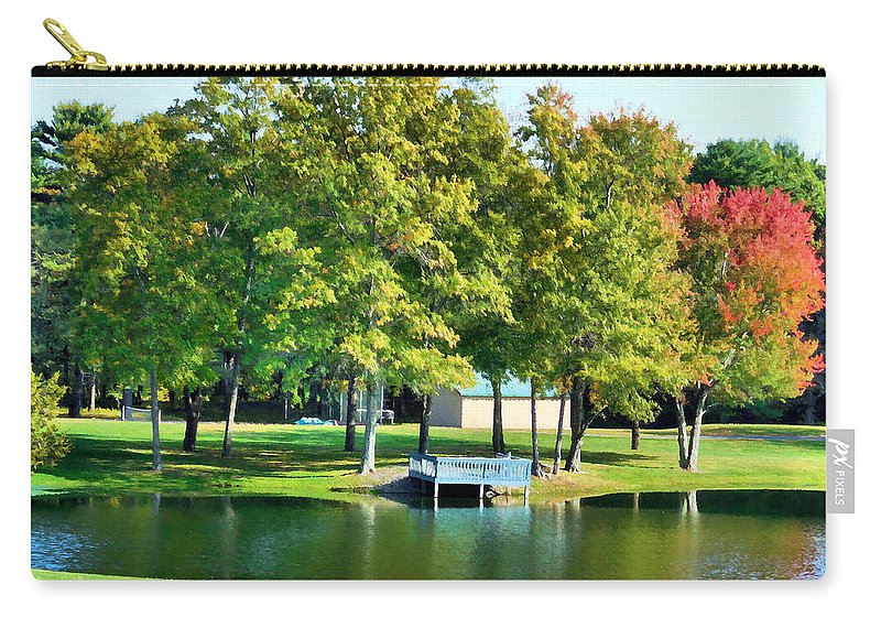 Tranquil Landscape At A Lake Carry-all Pouch featuring the painting Tranquil Landscape At A Lake 8 by Jeelan Clark