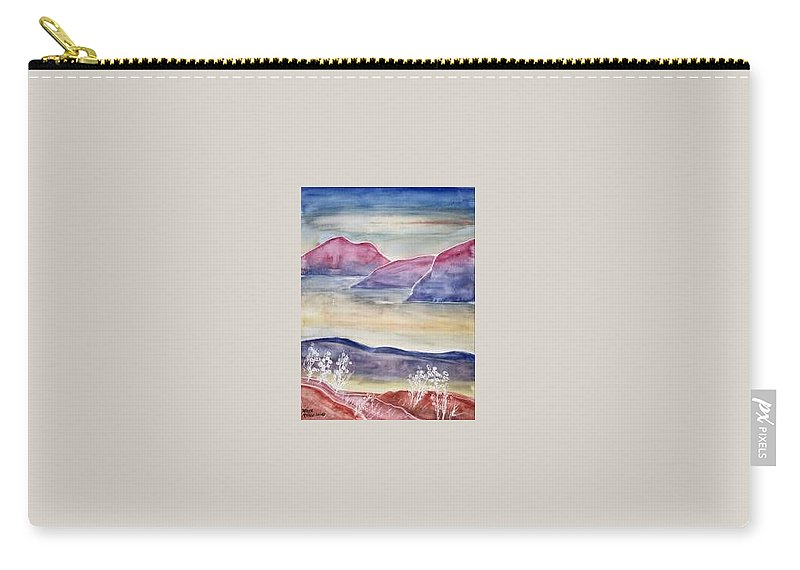 Watercolor Carry-all Pouch featuring the painting Tranquility 2 Mountain Modern Surreal Painting Print by Derek Mccrea
