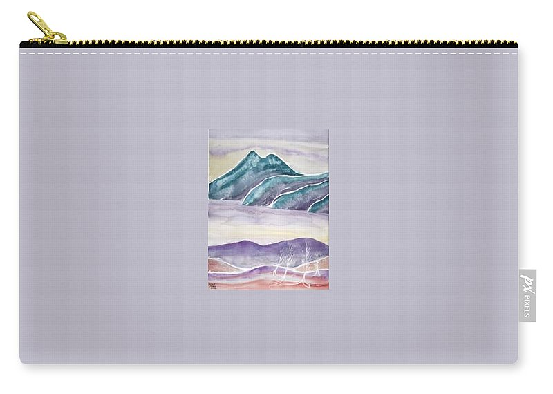 Watercolor Carry-all Pouch featuring the painting Tranquility Landscape Mountain Surreal Modern Fine Art Print by Derek Mccrea
