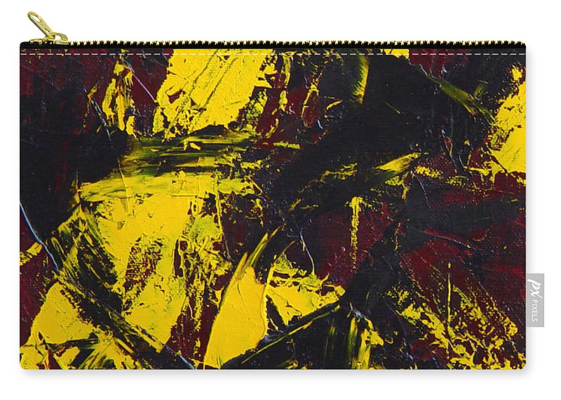 Abstract Carry-all Pouch featuring the painting Transitions With Yelllow And Black by Dean Triolo
