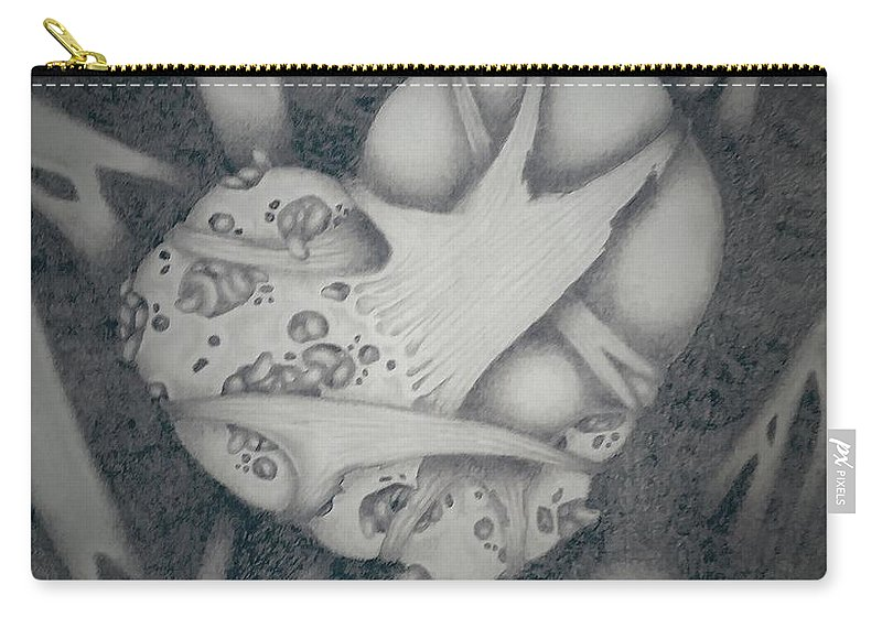 Drawing Carry-all Pouch featuring the drawing Corrupted Heart by Katrina Montgomery