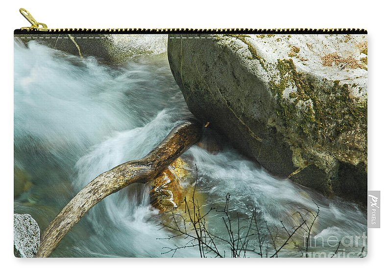Log Carry-all Pouch featuring the photograph Trapped River Log by George E Richards