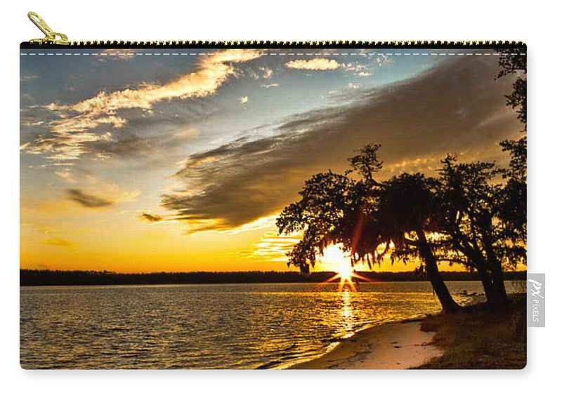 Sunset Carry-all Pouch featuring the photograph Trapped Sunset by Christopher Holmes