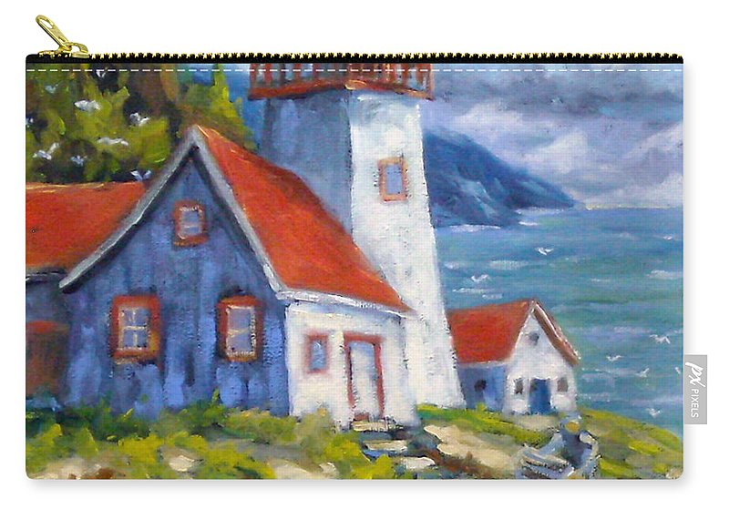 Art Carry-all Pouch featuring the painting Traps And Lighthouse by Richard T Pranke