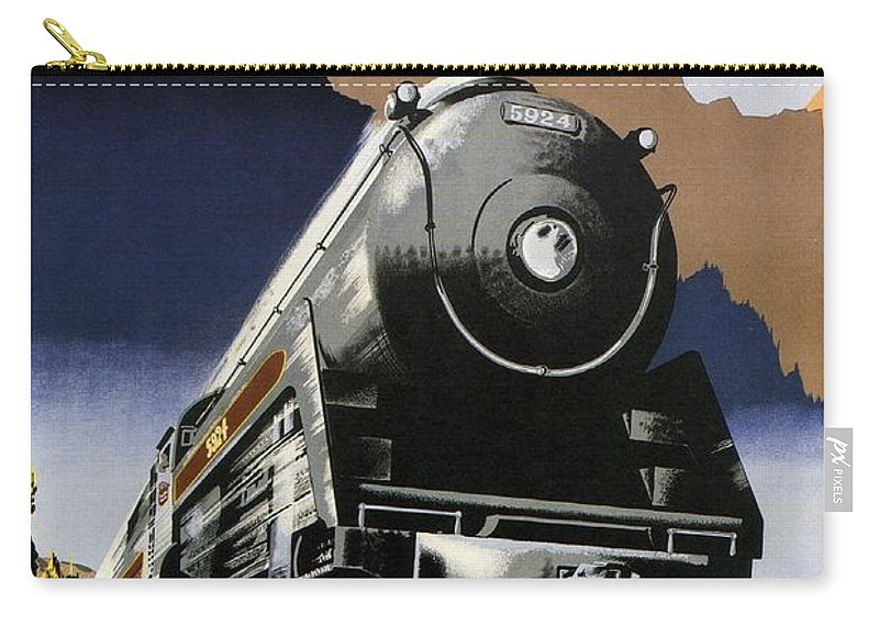 Canadian Pacific Carry-all Pouch featuring the mixed media Travel Canadian Pacific Across Canada - Steam Engine Train - Retro Travel Poster - Vintage Poster by Studio Grafiikka
