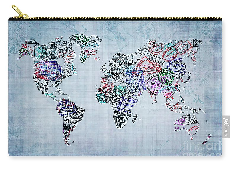 World Map Carry-all Pouch featuring the photograph Traveler World Map by Delphimages Photo Creations