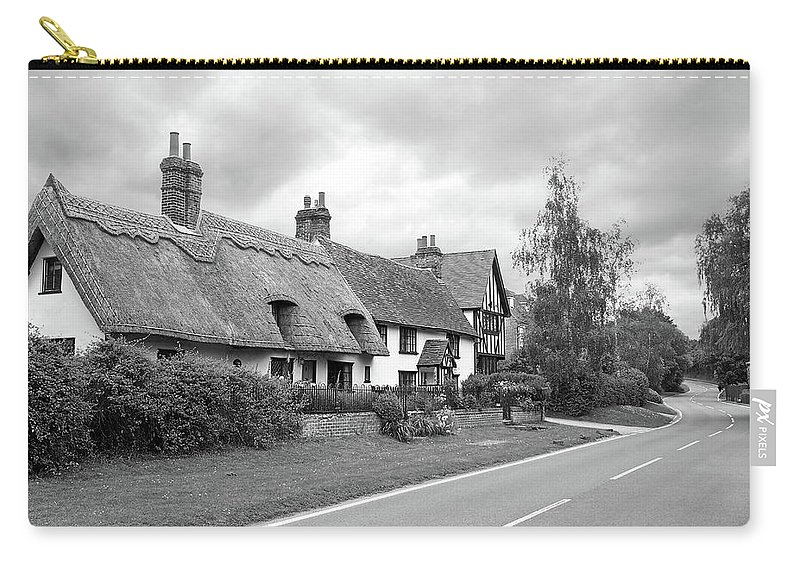 Thatched Cottage Carry-all Pouch featuring the photograph Travellers Delight - English Country Road Black And White by Gill Billington