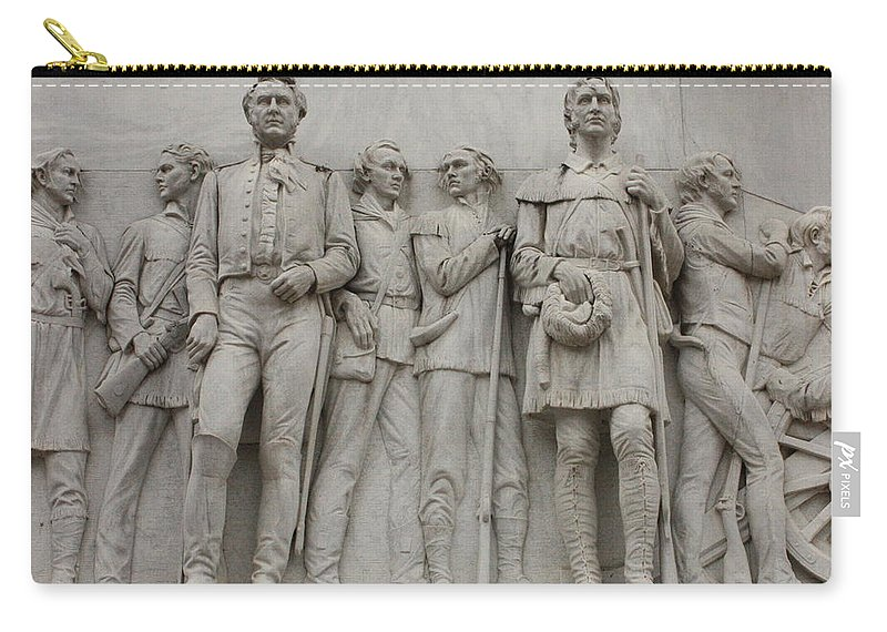Alamo Carry-all Pouch featuring the photograph Travis And Crockett On Alamo Monument by Carol Groenen