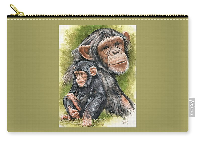 Chimpanzee Carry-all Pouch featuring the mixed media Treasure by Barbara Keith