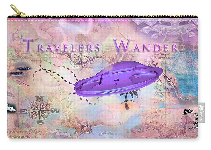 Carry-all Pouch featuring the digital art Treasure Map by Subbora Jackson