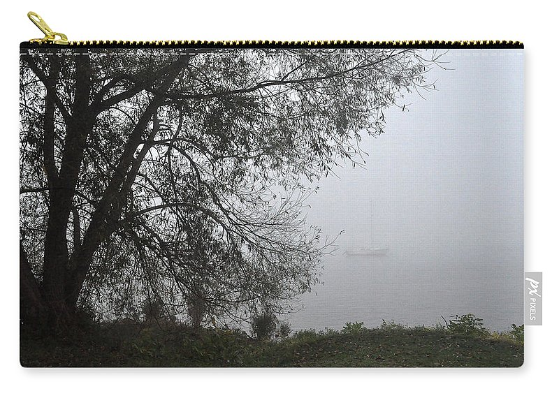 Fog Carry-all Pouch featuring the photograph Tree And Moored Boat by Tim Nyberg
