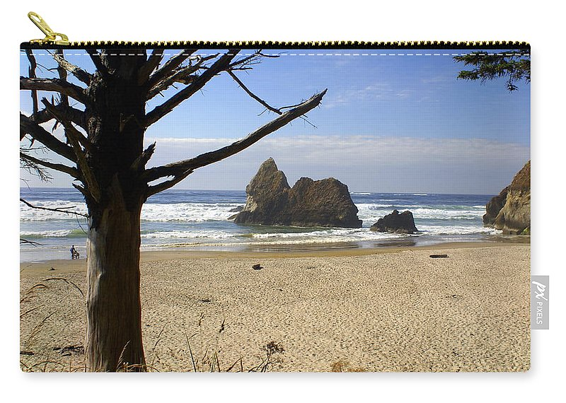 Ocean Carry-all Pouch featuring the photograph Tree And Ocean by Marty Koch