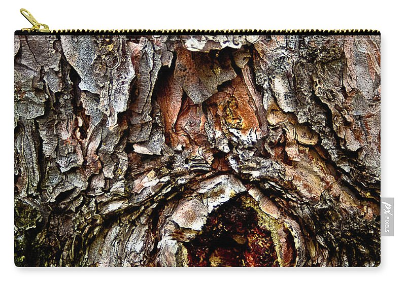 Tree Bark Carry-all Pouch featuring the photograph Tree Bark With Knothole by Onyonet Photo Studios