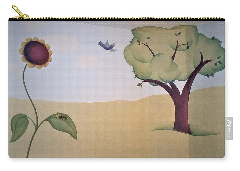Tree Carry-all Pouch featuring the painting Tree, Daisy Pad And Birdie by Suzn Art Memorial