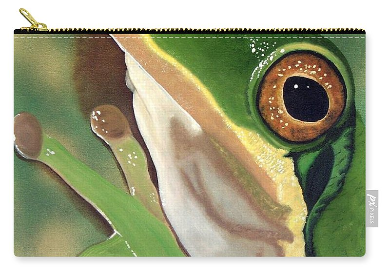 Virginia Tree Frog Carry-all Pouch featuring the painting Tree Frog Eyes by Debbie LaFrance