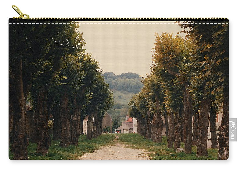 Trees Carry-all Pouch featuring the photograph Tree Lined Pathway In Lyon France by Nancy Mueller